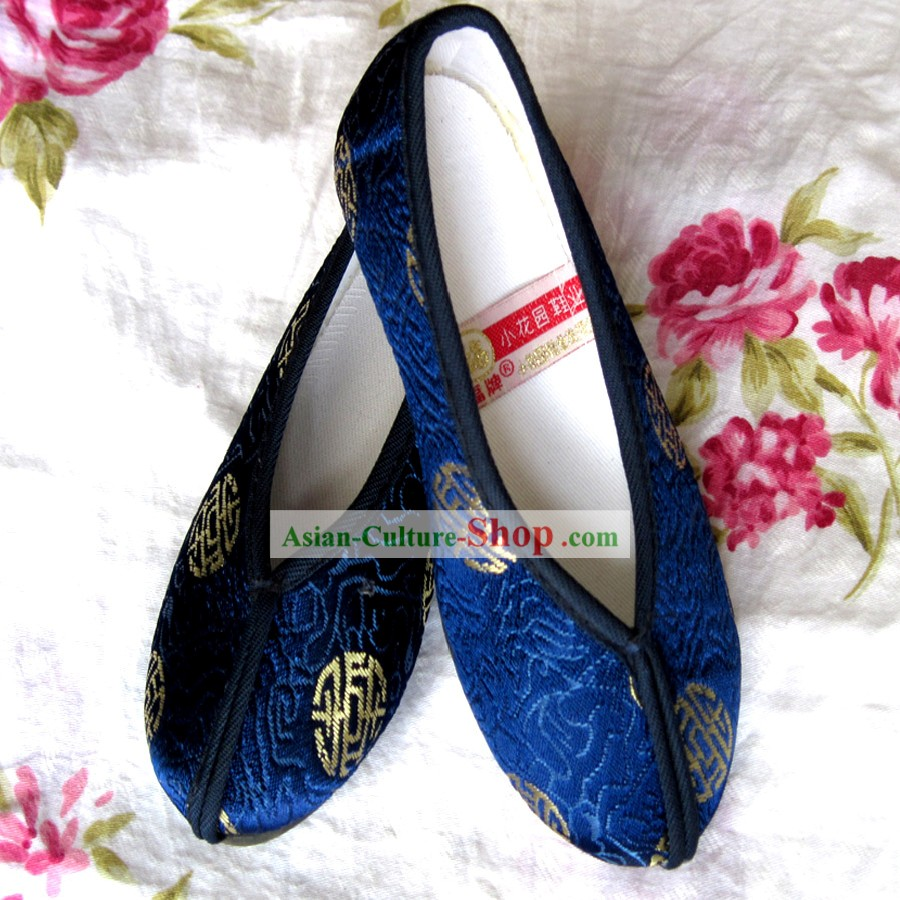 Chinese Blue Embroidery Shoes for Boys