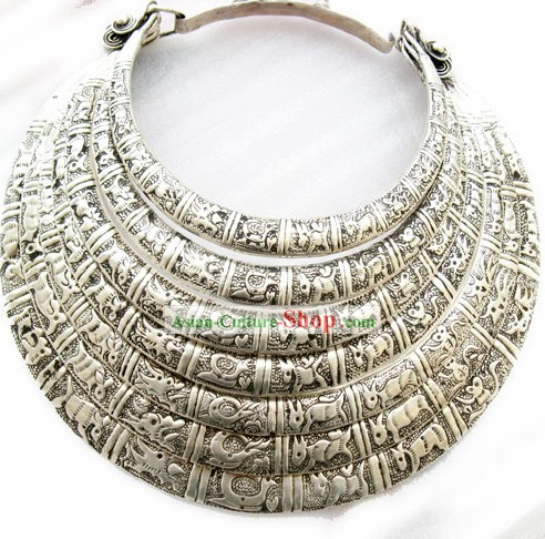 Five Layers of Miao Silver Sheng Xiao Necklace