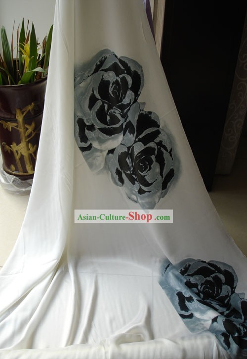 Traditional Chinese Hand Painted Rose Silk Fabric