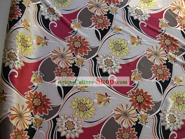 Traditional Chinese Flower Silk Fabric