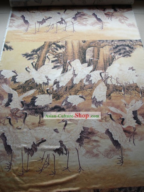 Traditional Chinese Palce Cranes Silk Fabric