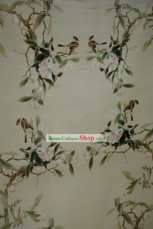 Traditional Chinese Birds and Flower Silk Fabric