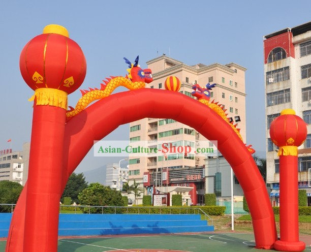 473 Inches Large Double Dragons and Lanterns Inflatable Arches