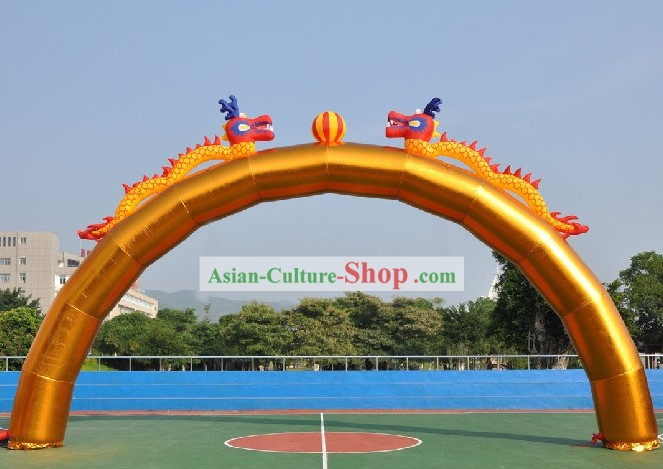 472 Inches Large Chinese Gold Inflatable Double Dragons Playing Ball