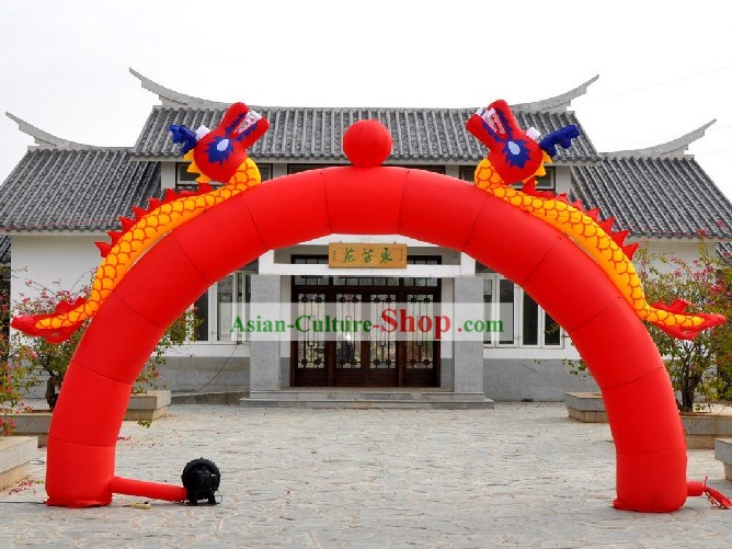 Chinese Inflatable Double Dragons Playing Ball