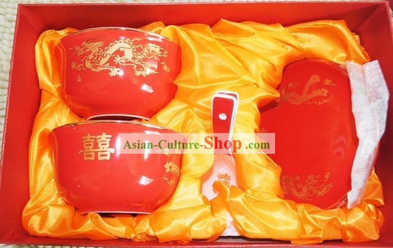 Traditional Chinese Wedding Ceramic Bowls 6 Pieces Set