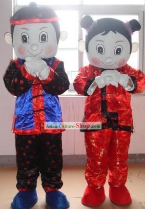 Chinese New Year Boy and Girl Mascot Costumes Complete Set