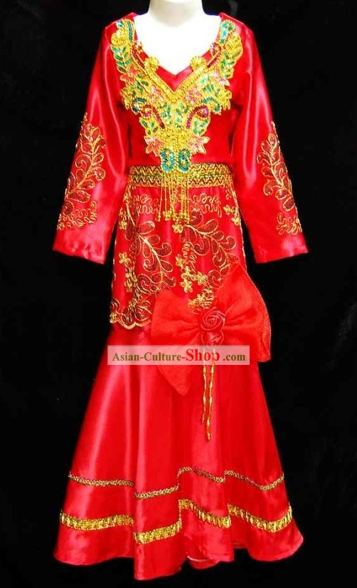 Thailand Red Dance Costume for Children