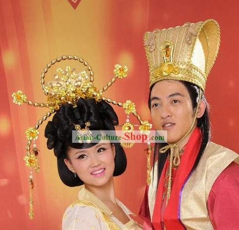 Traditional Chinese Wedding Hair Decoration Crowns for Bride and Groom