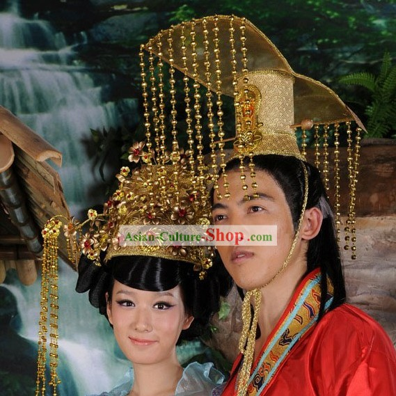 Traditional Chinese Emperor and Empress Crowns for Bride and Groom