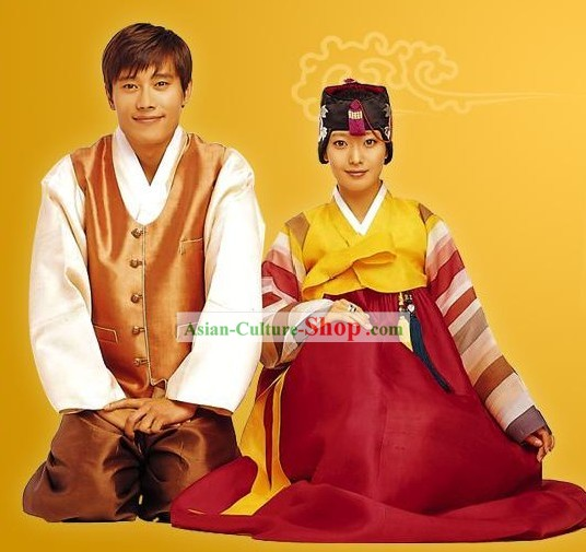 Ancient Korean Hanbok Two Sets for Men and Women