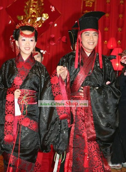 Han Dynasty Quju Garments Wedding Dress 2 Sets for Men and Women