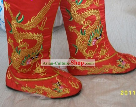 Traditional Chinese Wedding Dragon Embroidery Boots