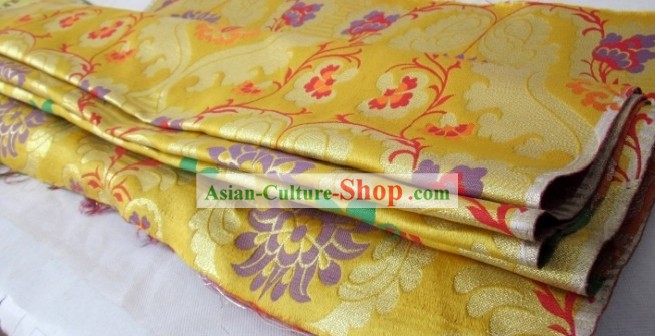 Traditional Chinese Folk Golden Brocade Fabric