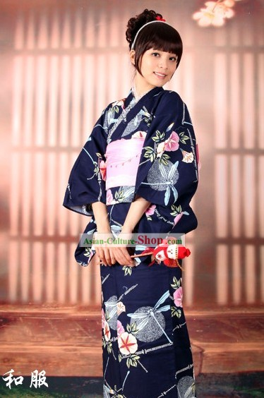 Japanese Morning Glory Yukata Kimono Obi Belt and Geta Sandal Six Pieces Complete Set for Women