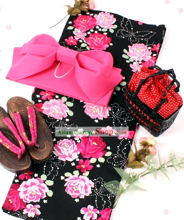 Japanese Yukata Kimono Obi Belt and Geta Sandal Six Pieces Complete Set for Women