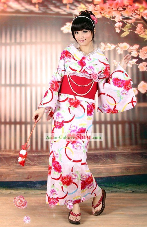 Romantic Japanese Yukata Kimono Obi Belt and Geta Sandal Six Pieces Complete Set for Women