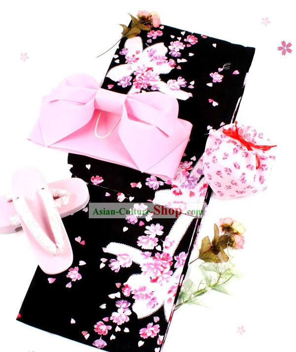 Japanese Classic Yukata Kimono Obi Belt and Geta Sandal Six Parts Complete Set for Women