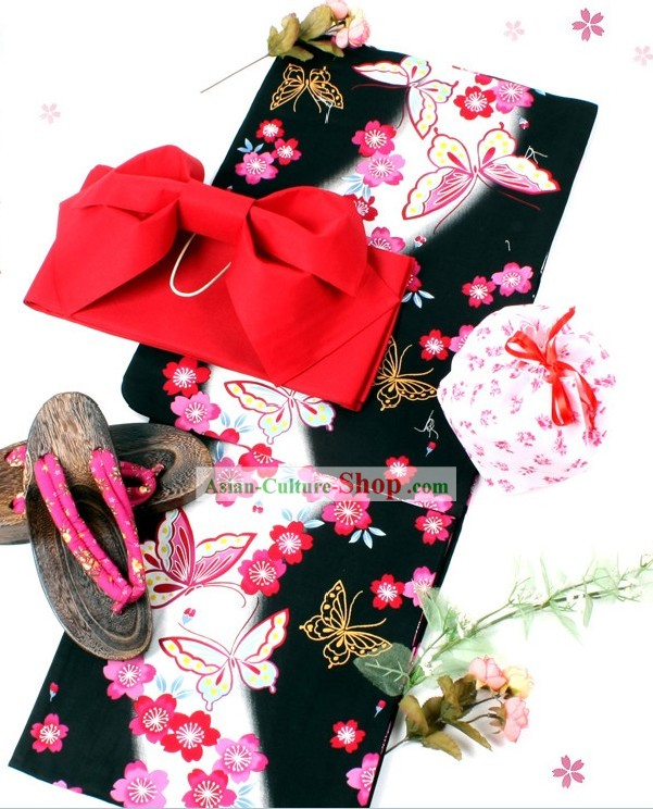 Traditional Japanese Butterfly Yutaka Kimono Obi and Geta Sandal Complete Set for Women