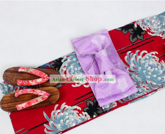 Japanese Yukata Kimono Obi and Geta Sandal Complete Set for Women