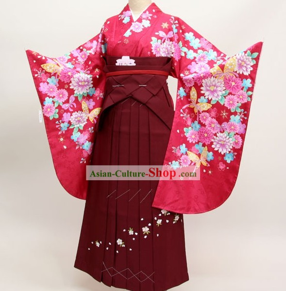 Japanese Formal Kimono Dress and Geta Sandal Complete Set for Women
