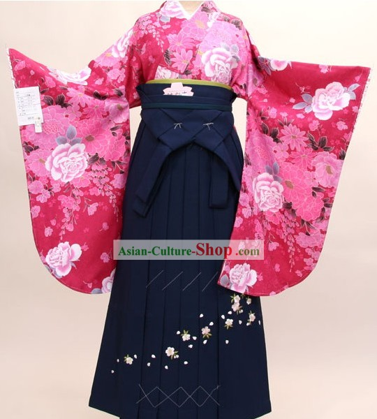 Japanese Formal Kimono Clothes and Geta Sandal Complete Set for Women