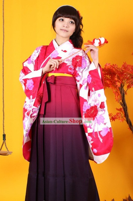 Japanese Furisode Kimono Obi and Geta Sandal Complete Set for Women