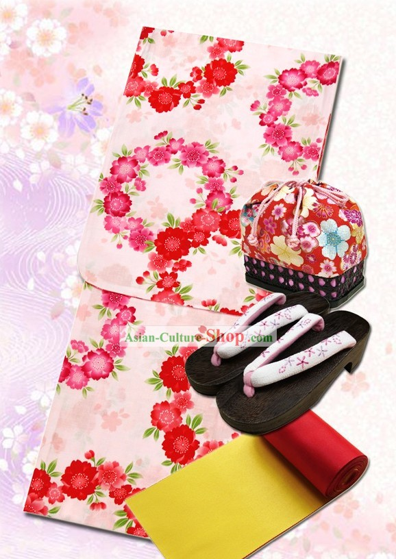 Japanese Yukata Kimono Dress and Geta Sandal Complete Set for Women