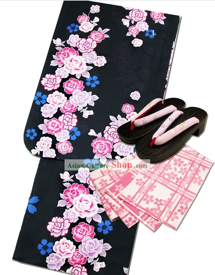 Japanese Yukata Kimono Dress Complete Set for Women