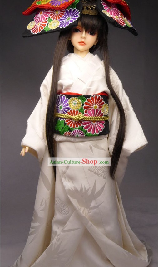 Traditional Japanese Butterfly Princess Kimono Costumes Complete Set