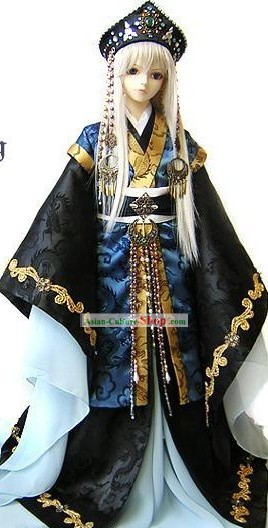 Ancient Japanese Emperor Costumes and Crown Complete Set for Men