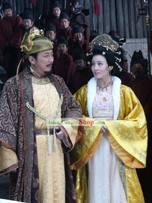 Tang Dynasty Emperor Li Shimin Costumes and Hat Complete Set
