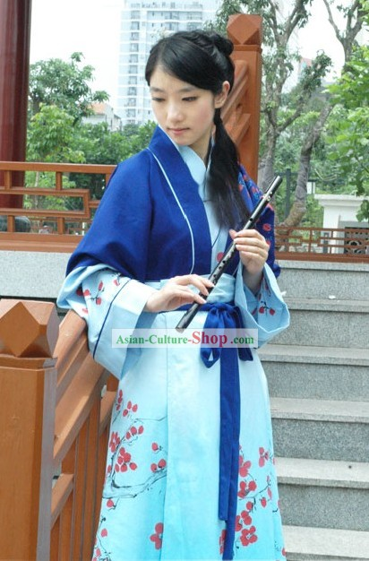 Ancient Chinese Instrumentalist Plum Blossom Clothing Full Set for Women