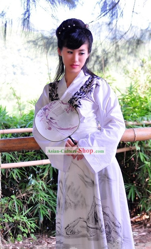 Ancient Chinese Oil Painting Clothing Complete Set