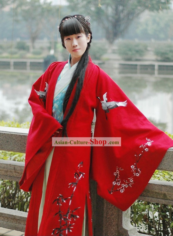 Traditional Chinese Lucky Red Cranes Wedding Dress