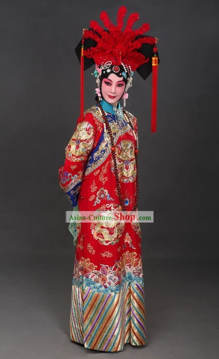 Chinese Opera Huadan Costumes and Phoenix Crown Complete Set