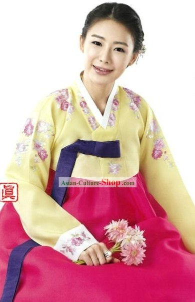 Korean Traditional Women Embroidered Flower Hanbok