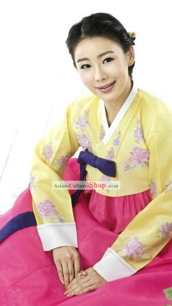 Romantic Korean Women Embroidered Flower Formal Hanbok