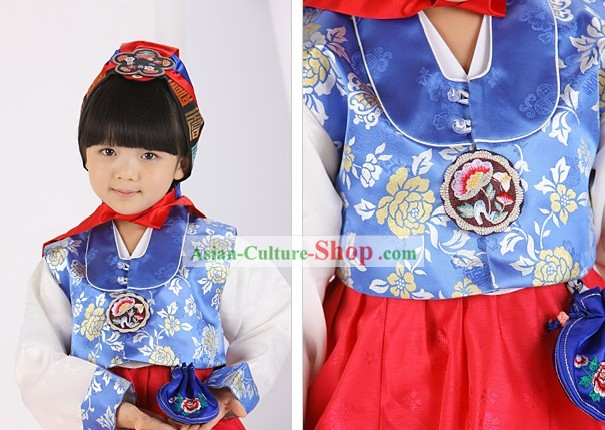 Traditional Korean Birday Hanbok Dress for Kids