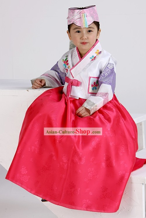 Traditional Korean Birday Hanbok Dress for Girls