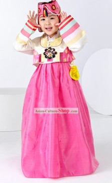Traditional South Korean Formal Birday Hanbok Clothing for Children