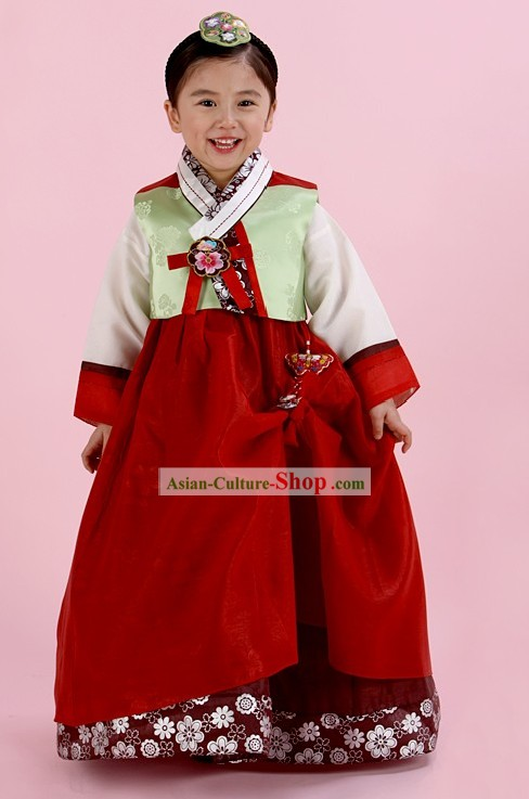 Traditional Korean Everyday's Wear Hanbok and Hat for Female Kids