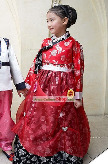 Traditional Korean Children Hanbok Dress for Girls