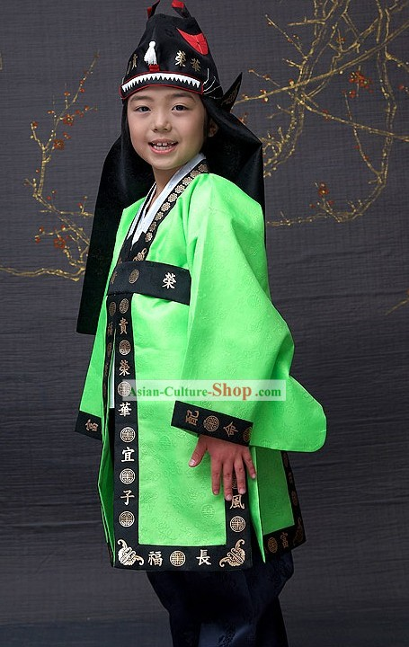 Ancient Korean National Costumes and Hat for Boys