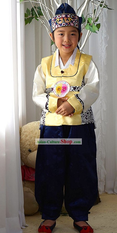 Traditional Korean Children National Costumes Complete Set for Boys