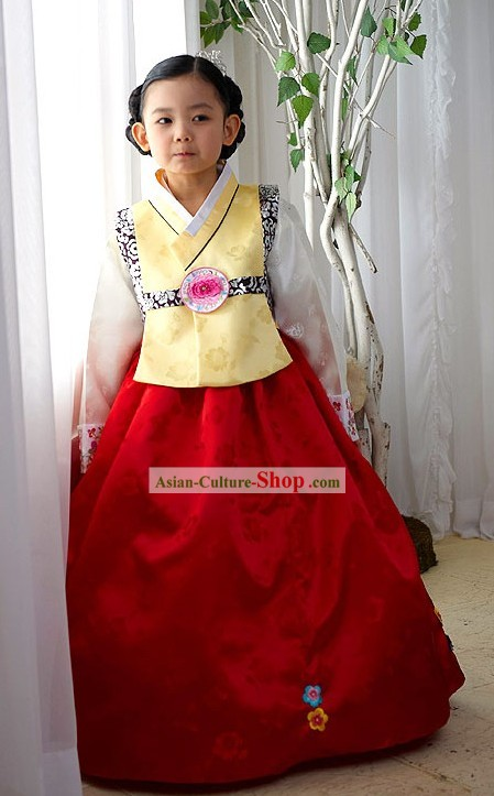 Traditional Korean Children National Costumes Complete Set for Girls