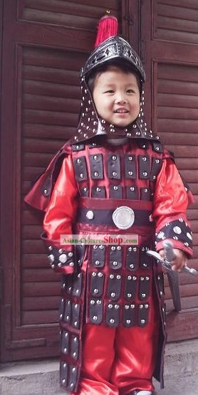 Children Size Chinese General Costumes and Hat Set
