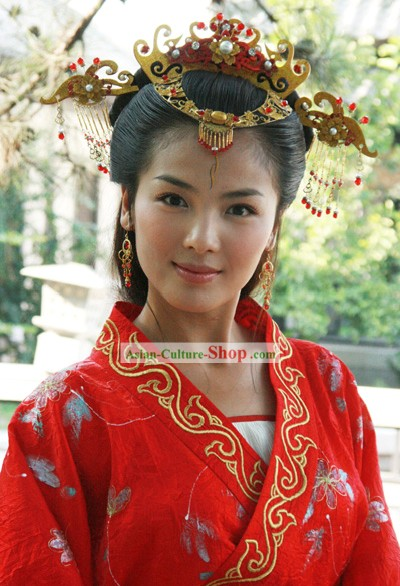 Ancient Chinese Wedding Bride Headpiece Set