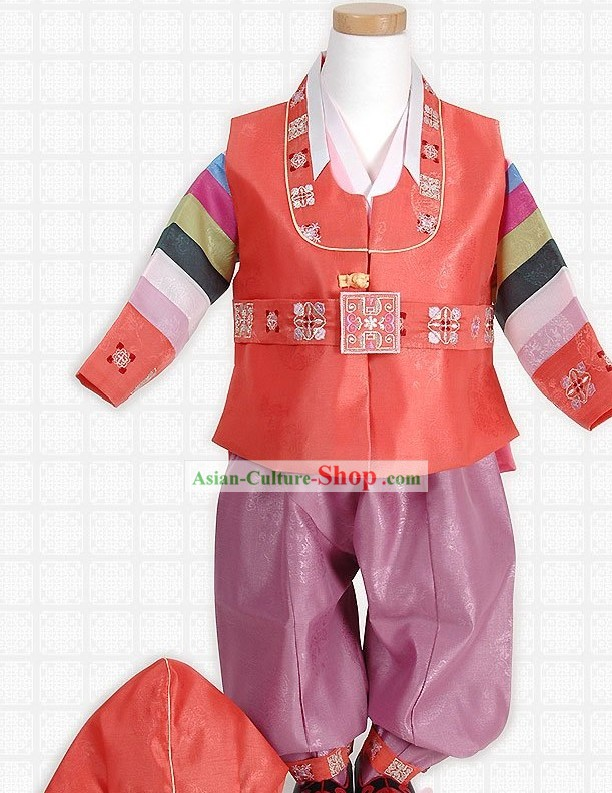 Korean Hanbok Costume and Hat for Boys