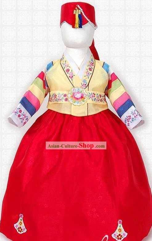 Korean Hanbok Costume and Hat for Girls